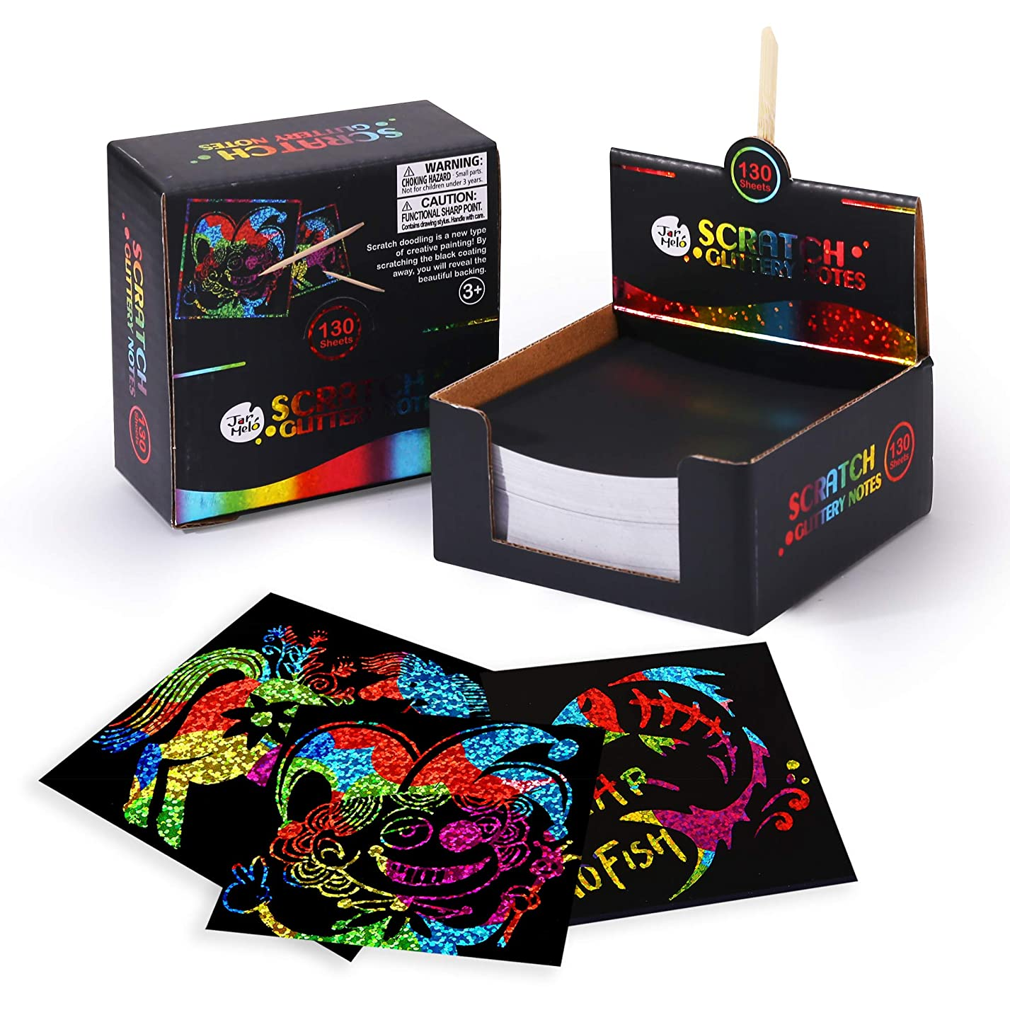 Jar Melo Scratch Art Notes; 130 Sheets; With 2 Wooden Stylus; Rainbow Holographic Mini Notes; Rainbow Hologram Glitter pattern Scratch Magic Notes
