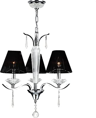 "Worldwide Lighting Gatsby Collection 3 Light Arm Chrome Finish and Clear Crystal Chandelier with Black String Shade 20"" D x 23"" H Medium"
