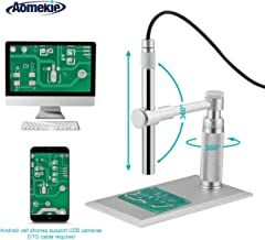 Aomekie USB Digital Microscope Magnifier with Camera Video Function 200X Zoom 1600x1200 HD 2MP PCB Inspection Handheld Endoscope with 8 LED Lights and CMOS Sensor for Mac Windows PC Android Phone