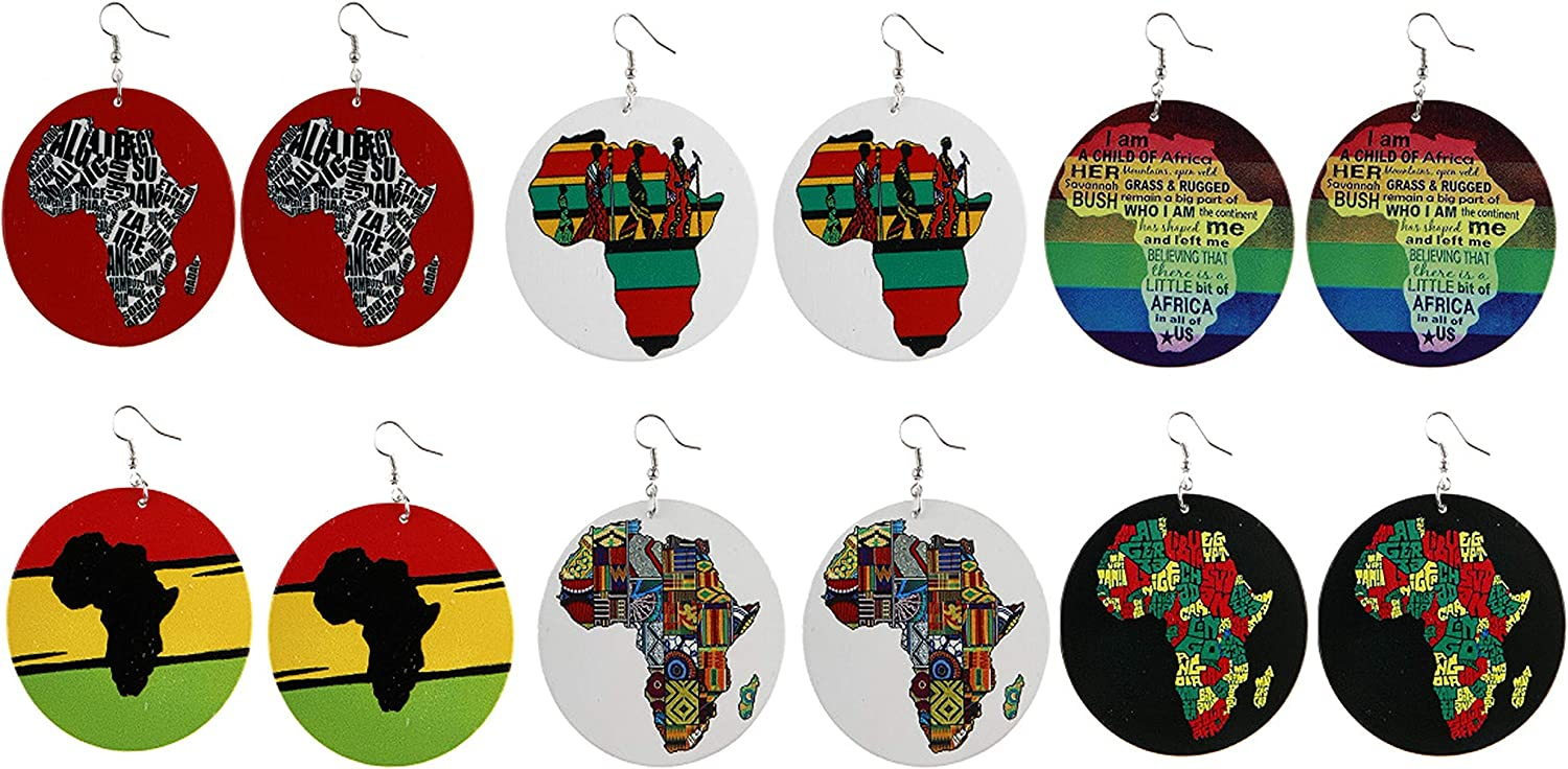 6 Pairs African Map Earrings Round Natural Wooden Statement Pendant Earrings Set Painted Ethnic Style Multicolor Lightweight Drop Dangle Ear Jewelry