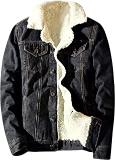 Springrain Men's Winter Sherpa Lined Denim Jacket Windbreaker Trucker Jacket