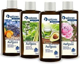 Spitzner Infusion pour sauna Anti-stress : Thé vert-avocat, Basilic citron, Lavande-kumquat et Rose (4x190ml)
