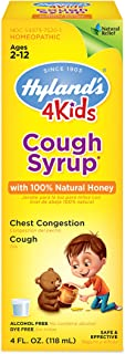 Cough Syrup for Kids Ages 2+ 100% Honey for Kids by Hyland's, Decongestant, Natural Relief of Cough and Chest Congestion, ...