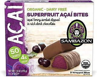 Sambazon Organic Superfruit Acai Bites, Acai Berry Sorbet with Dark Chocolate, 9 Count