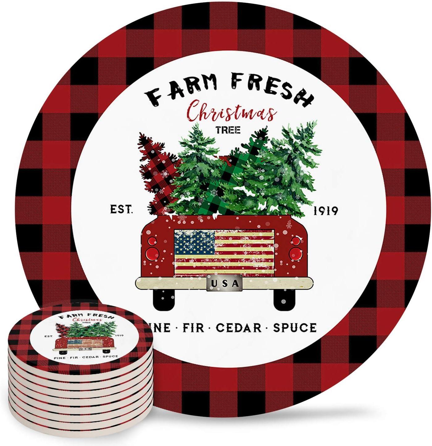 Retro Truck with USA Superlatite Flag Farm Coasters Atlanta Mall Christmas Drin Trees for