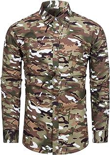 fohemr Camisa de Manga Larga para Hombre Estampado Floral Casual con Botones Camisa Retro Flores Estilo 100% algodón