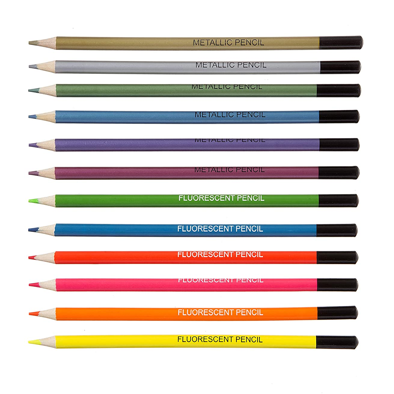 Darice 30062837 Studio 71 Metallic & Fluorescent, 12 Pieces Pencils Assorted