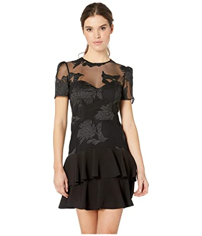 Bardot Flower Frill Dress (Black) Women