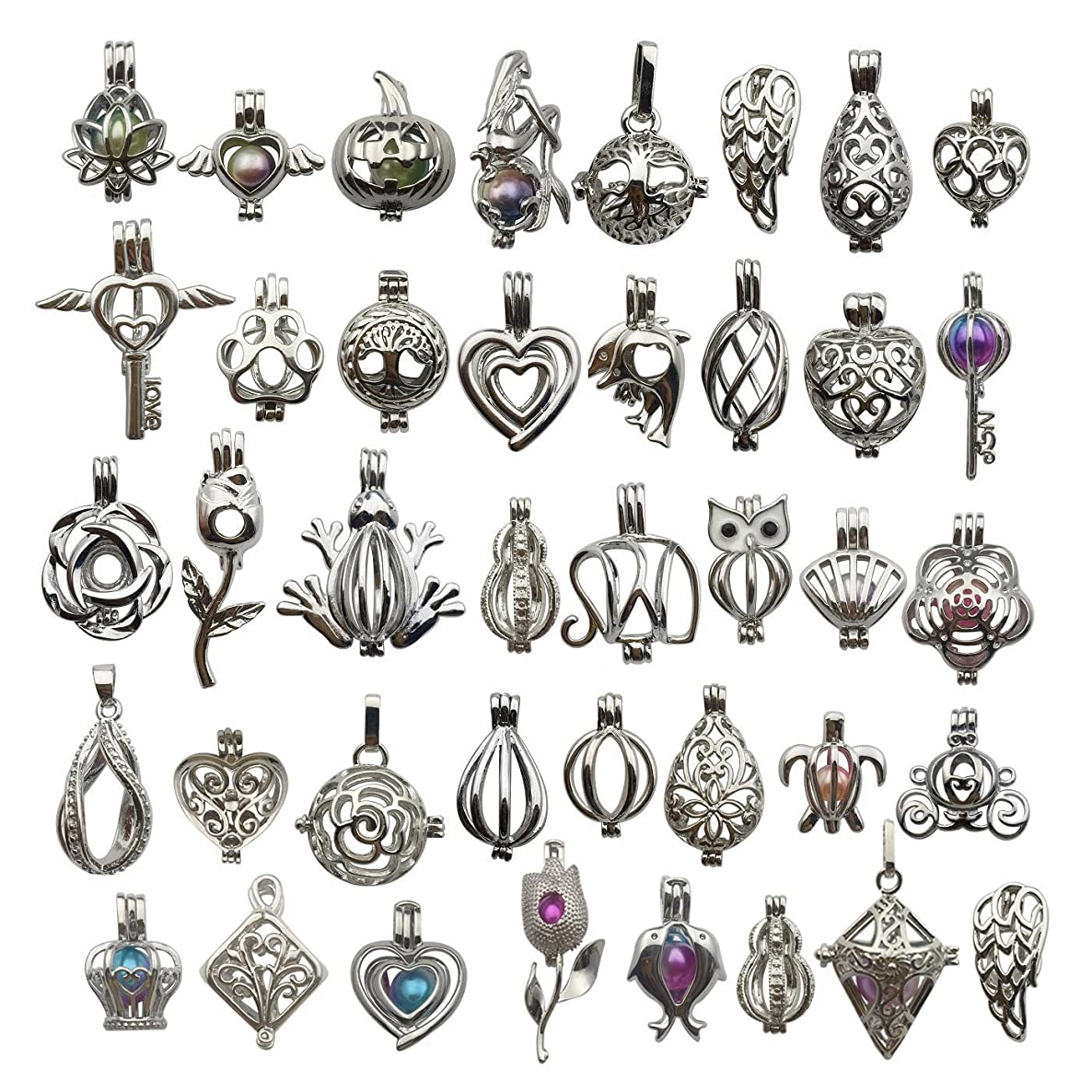 Mixed Shape White Gold Plated Pearl Bead Cages Pendants for Jewelry Making/Aromatherapy Essential Oil Scent Diffuser Locket Pendant (30 Pcs Mixed No Duplicate)
