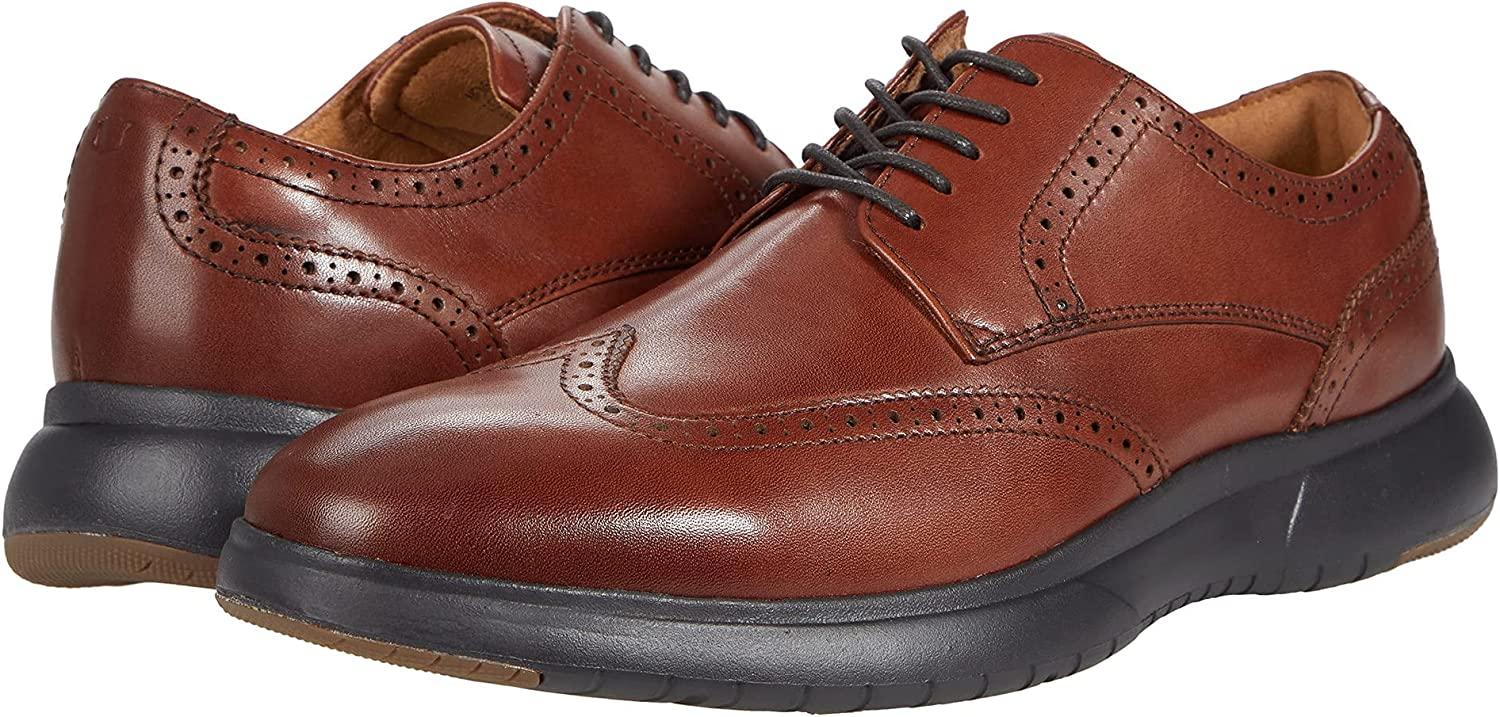 Florsheim Dash Wing Tip Sneaker Sole Oxford Cognac Smooth Leather/Brown Sole 11.5 M (D)