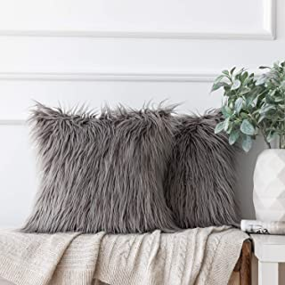 Ashler Pack of 2 Decorative Luxury Style Grey Faux Fur Throw Pillow Case Cushion Cover 18 x 18 Inches 45 x 45 cm