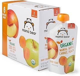 Amazon Brand – Mama Bear Organic Baby Food, Stage 2, Mango Apple Carrot Peach, 4..