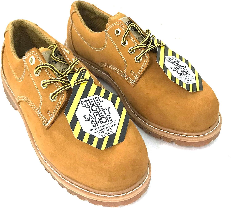 Z-7425 Men's Steel Toe Work Boots Wheat Nubuck Leather 4