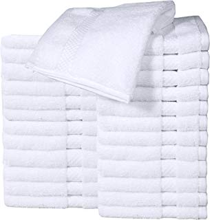 """HomeLabels Cotton Washcloth Towel Set (24 Pack, White, 12""""x12"""") Multi-purpose rags, Soft Fingertip towels, Absorbent Face Cloths, Machine Washable Sport, and Workout Towels"""