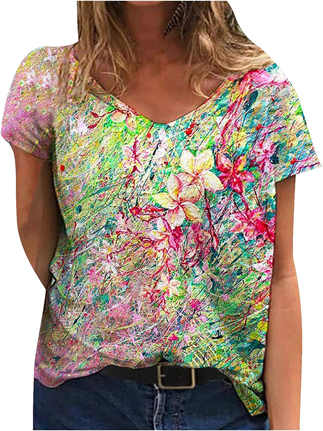 ORT Womens Short Sleeve Shirts Cute Printed V-Neck Tshirts Blouse Summer Casual Tops Loose Fit Graphic Tees