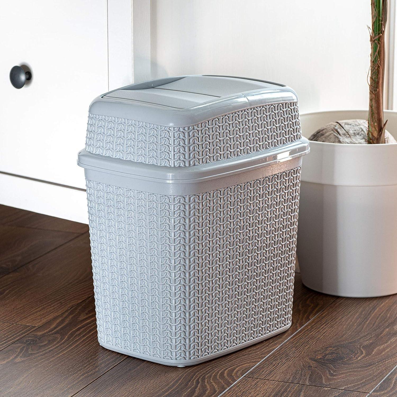 10 L, antracita cocina cubo interior cubo de basura para cuarto de ba/ño ligero con tapa basculante KADAX Cubo de basura de pl/ástico con tapa basculante