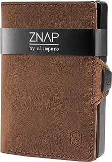 ZNAP Portafoglio Porta Carte di Credito - in Alluminio - Protezione RFID - Vintage Marrone - Fino a 6 - 12 carte - Portafo...