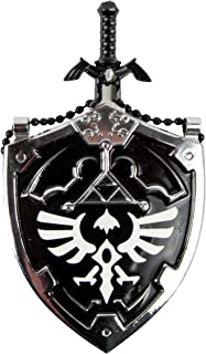 Anyblades.com Mini Dark Hylian Shield & Links Master Sword Legend of Zelda Necklace