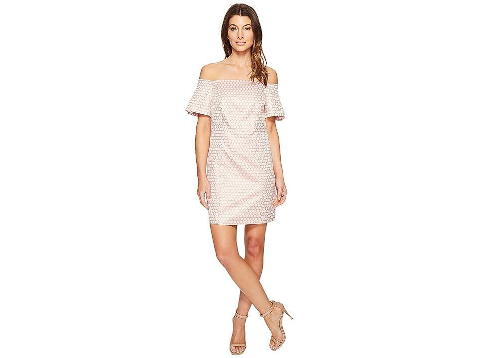 Laundry by Shelli Segal Off the Shoulder Metallic Dot Jacquard Shift Dress (Hot Pink) Women