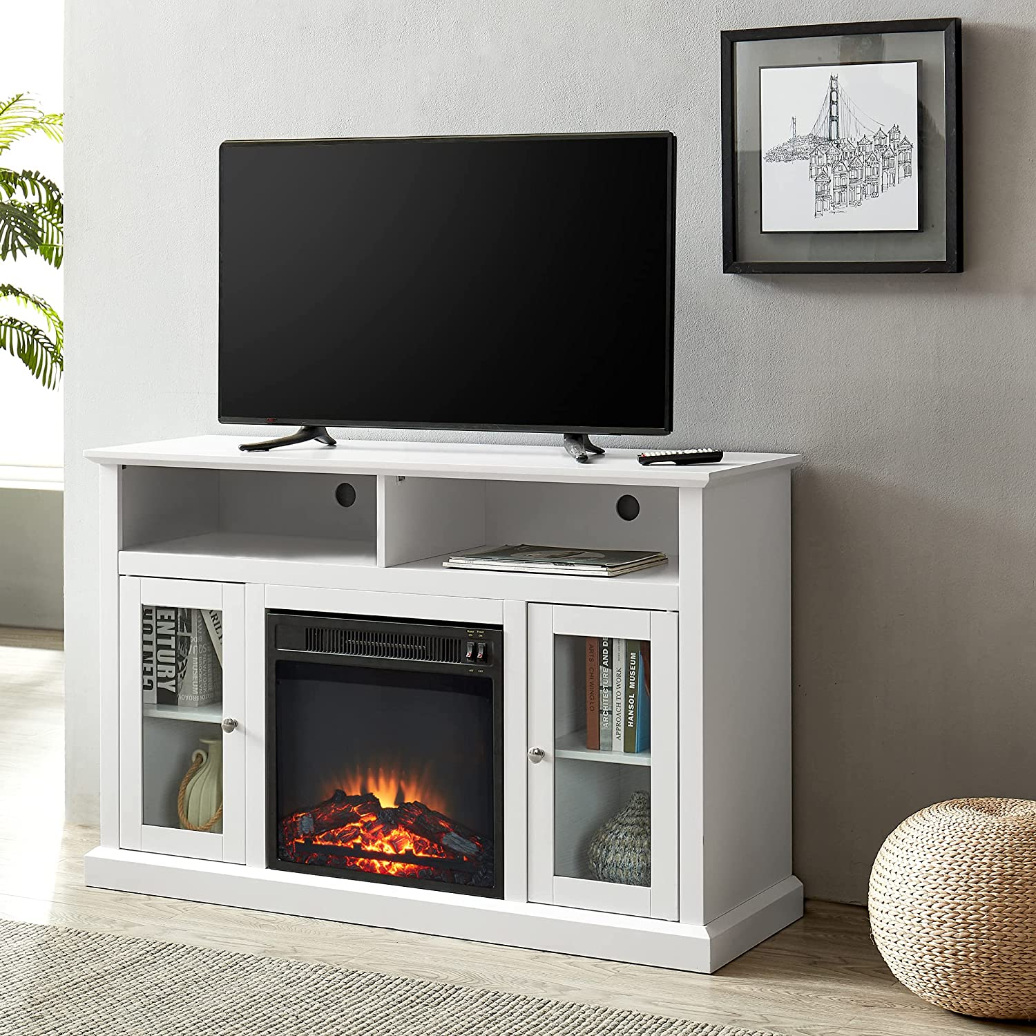 GOOD & GRACIOUS Mid Century Modern Electric Fireplace TV Stand, Fit up to  20