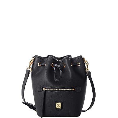 Dooney & Bourke Saffiano Small Drawstring Crossbody (Black) Handbags