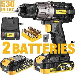 Drill, 20V Cordless Drill Driver 2x2000mAh Batteries, 530 In-lbs Torque, 24+1 Torque..