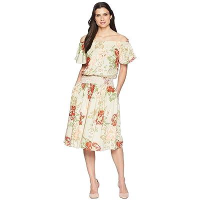 Donna Morgan Off the Shoulder Linen Dress with Smocked Waist (Beige/Red Multi) Women