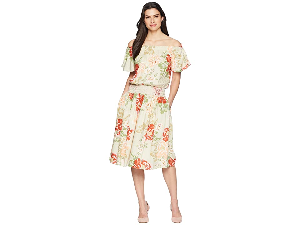 Donna Morgan Off the Shoulder Linen Dress with Smocked Waist (Beige/Red Multi) Women