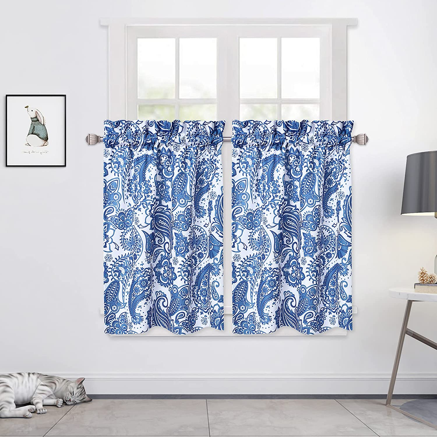 CAROMIO Rapid rise Cafe Tier Curtains for Floral Short Kitchen Wind Paisley 2021 new