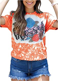 Fiere Women's Loose Blouse Lounge Floral Print Round Neck Tees Top
