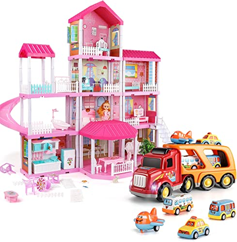 lowest TEMI lowest Dollhouse lowest Dream House Toys for 3 4 5 6 7year Old Girls Building Toys Figure and Carrier Truck Transport Car Play Vehicles Toys sale