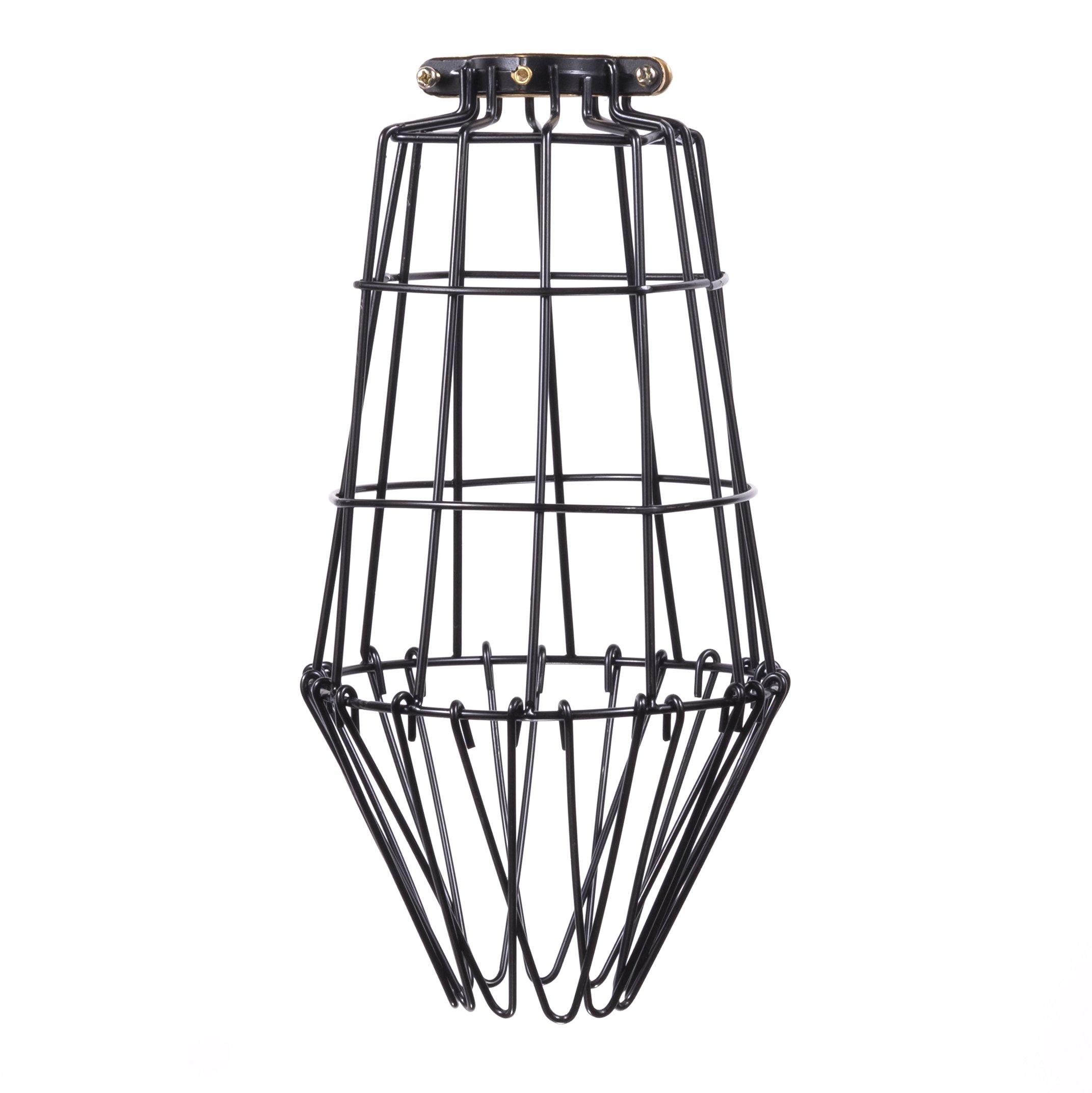 カントリースタイルの長いワイヤーランタン保護ギアペンダントランプDIY照明器具黒