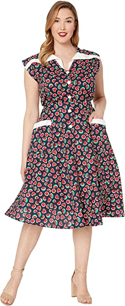 Plus Size 1950s Style Cap Sleeve Hedda Swing Dress