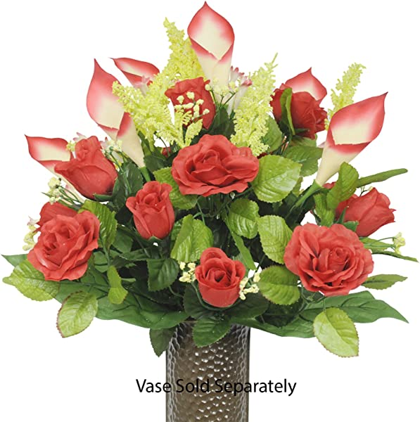 Red Rose And Red Calla Lily Silk Flower Bouquet With Stay In The Vase Design Flower Holder SM1218