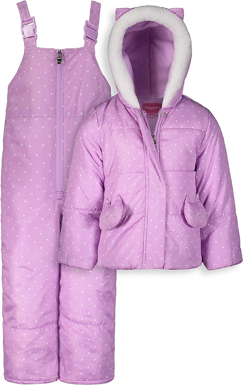 LONDON FOG Baby Girls' Snowsuit with Snowbib and Puffer Jacket, Purple Cat Pocket, 12MO