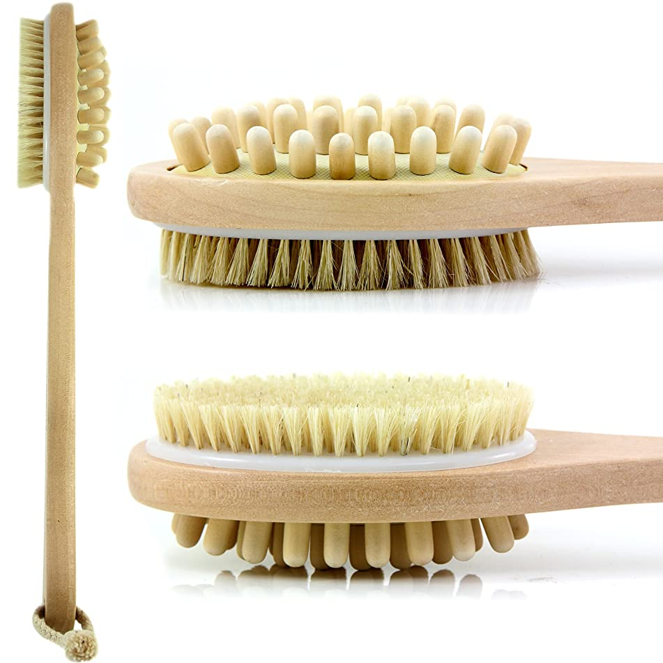 Bath Blossom Bath Body Brush Natural Bristles - Exfoliating Body Brush - Effective for Wet and Dry Body Brushing - Long Handle Shower Back Scrubber Brush - Suitable for Men and Women