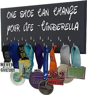 Race bib Medal Display - ONE Shoe CAN Change Your Life - Cinderella - Run Disney Inspired Medal Hanger - Running Medal Display Rack Hooks Women - 5K, 10K, Half Marathon Running Accessory