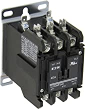 Eaton C25DNF340A Definite Purpose Contactor, 50mm, 3 Poles, Box Lugs, Quick Connect Side By Side Terminals, 40A Current Rating, 3 Max HP Single Phase at 115V, 10 Max HP Three Phase at 230V, 20 Max HP Three Phase at 480V, 120VAC Coil Voltage