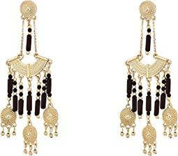Brown Dangling Beaded Chandelier Post Earrings