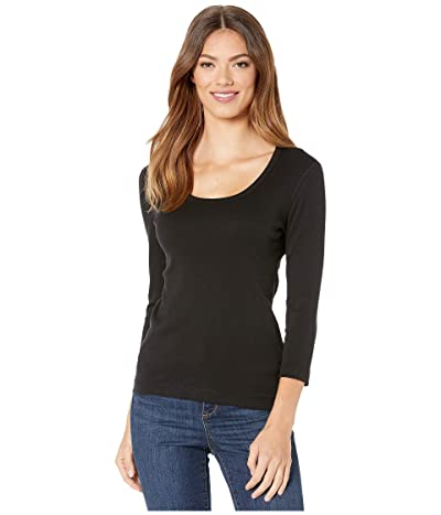 Lilla P 1X1 3/4 Sleeve Scoop Neck Tee (Black) Women