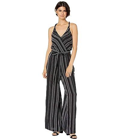 1.STATE Halter Neck Tie Waist Checker Grid Jumpsuit (Rich Black) Women