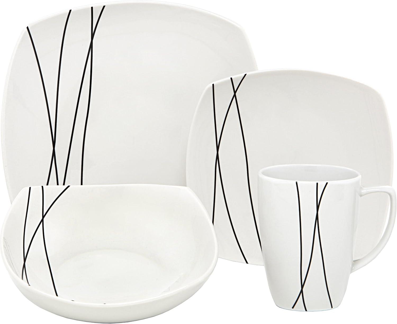 Melange Square 16-Piece Porcelain Dinnerware Set (Black Lines)   Service for 4   Microwave, Dishwasher & Oven Safe   Dinner Plate, Salad Plate, Soup Bowl & Mug (4 Each)
