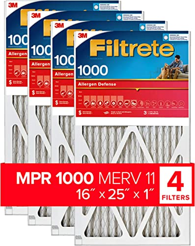 Filtrete 16x25x1, AC Furnace Air Filter, MPR 1000, Micro Allergen Defense, 4-Pack (exact dimensions 15.69 x 24.69 x 0...