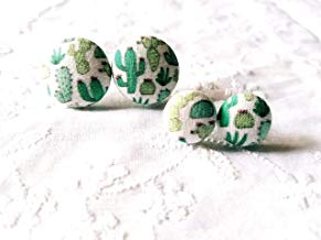 Cactus Fabric Button Earrings