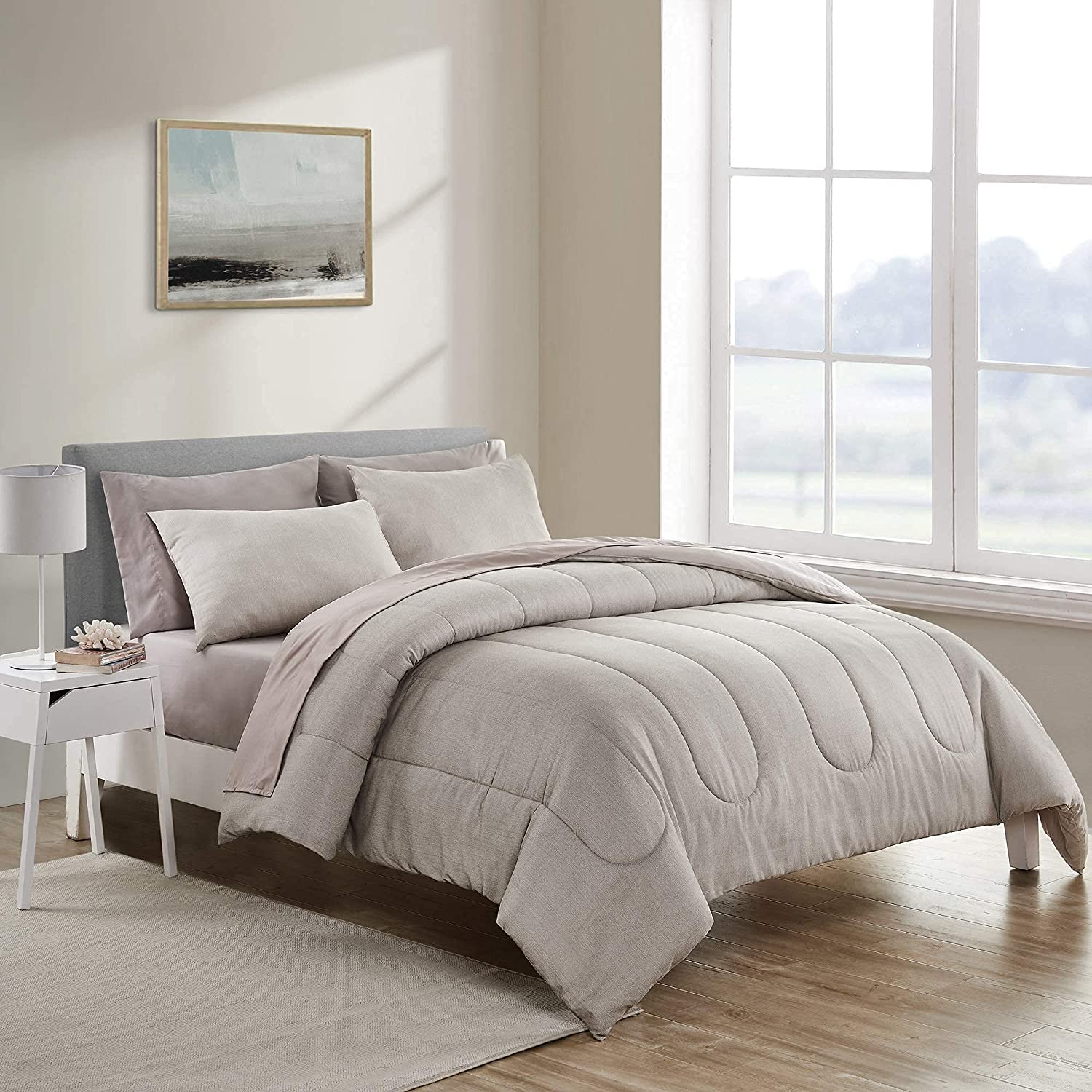 SHALALA NEW YORK Under blast sales Comforter Set Clearance SALE Limited time Taupe King Bed-in-A-Bag 7-P Khaki