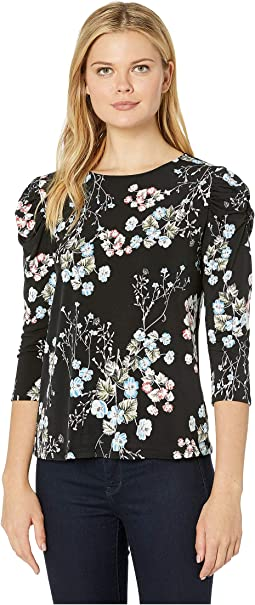 3/4 Ruffled Sleeve Floral Divine Knit Top