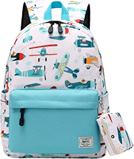 Mairle Little Kids Backpack Preschool Kindergarten School Bag for Boys and Girls with Chest Strap, Glider Print, White/Lig...