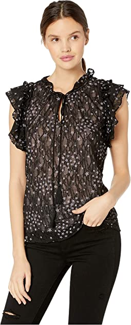 Star Print Mock Neck Sleeveless Ruffle Trim Top