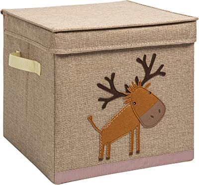 YueYue Foldable Animal Cube Toy Storage Bins with Lids for Kids£¬Bins/Cube/Box/Chest/Organizer for Kids & Nursery, 12.5 inch (Little Donkey-Beige)