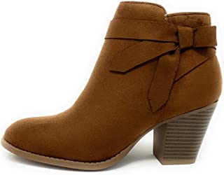 City Classified Arden-S Womens Ankle Booties with Low Stack Block Heel